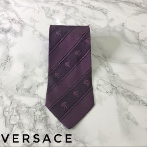 Versace Purple Striped Large Medusa Print Silk Tie